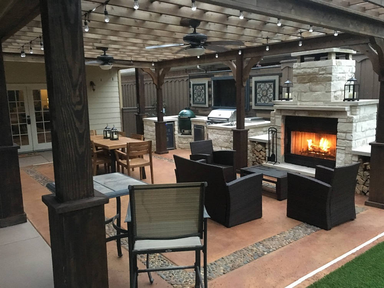 14x24 Serenity Cedar Pergola Kit Dallas TX Outdoor Fireplace & Kitchen