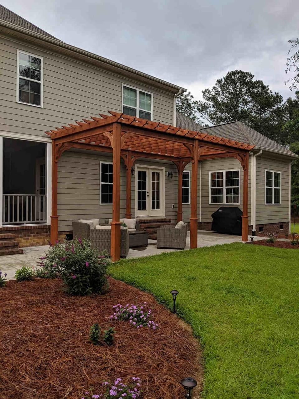 11x20 Serenity Cedar Pergola Kit Goldsboro NC Free-standing near house