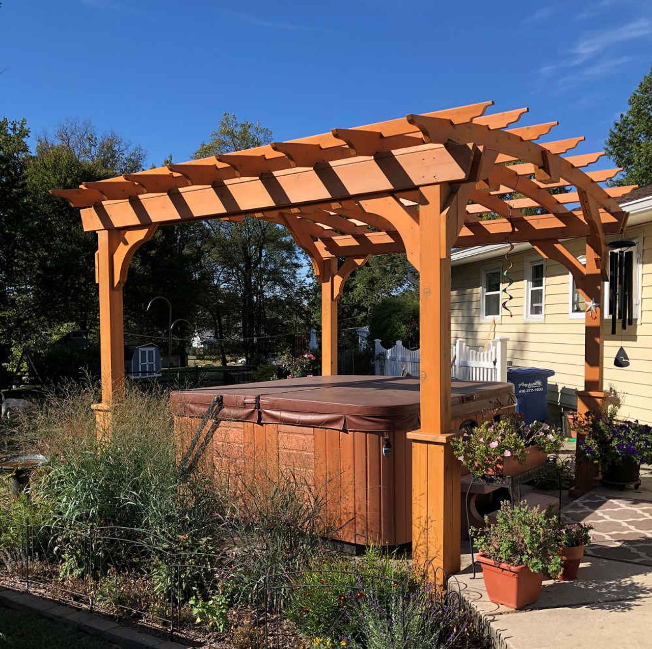 10x10 Arched Cedar Pergola Kit - Aberdeen, Maryland