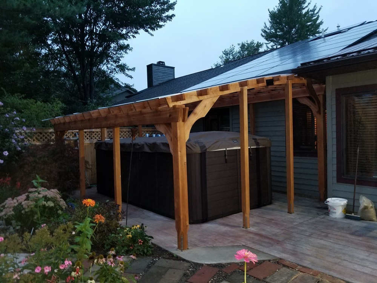 12x18 Custom Arched Cedar Pergola Kit Hot Tub Enclosure - Slingerlands, New York