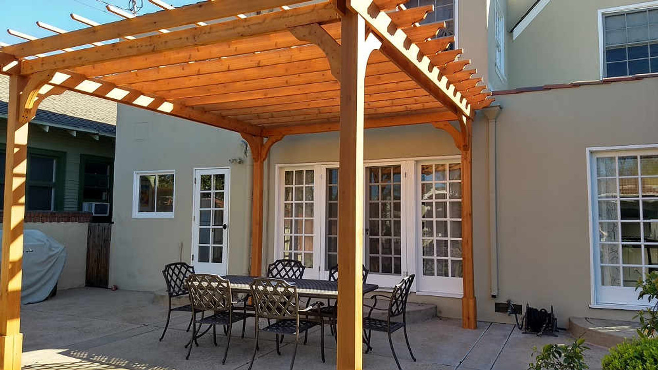 12x12 Classic Cedar Pergola Kit - French Door Patio - San Jose CA