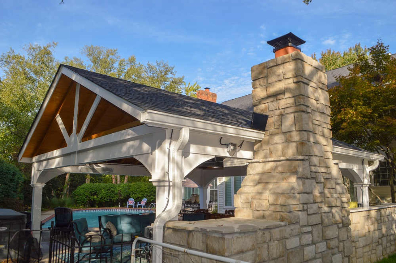 21x21 Vinyl Gable Pavilion Kit, outdoor fireplace, Chesterfield MO
