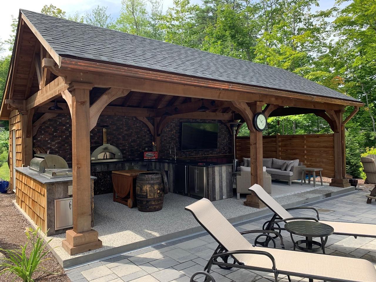 16x28 Grand Cedar Pavilion Kit TV Lounge, Gliford, NH