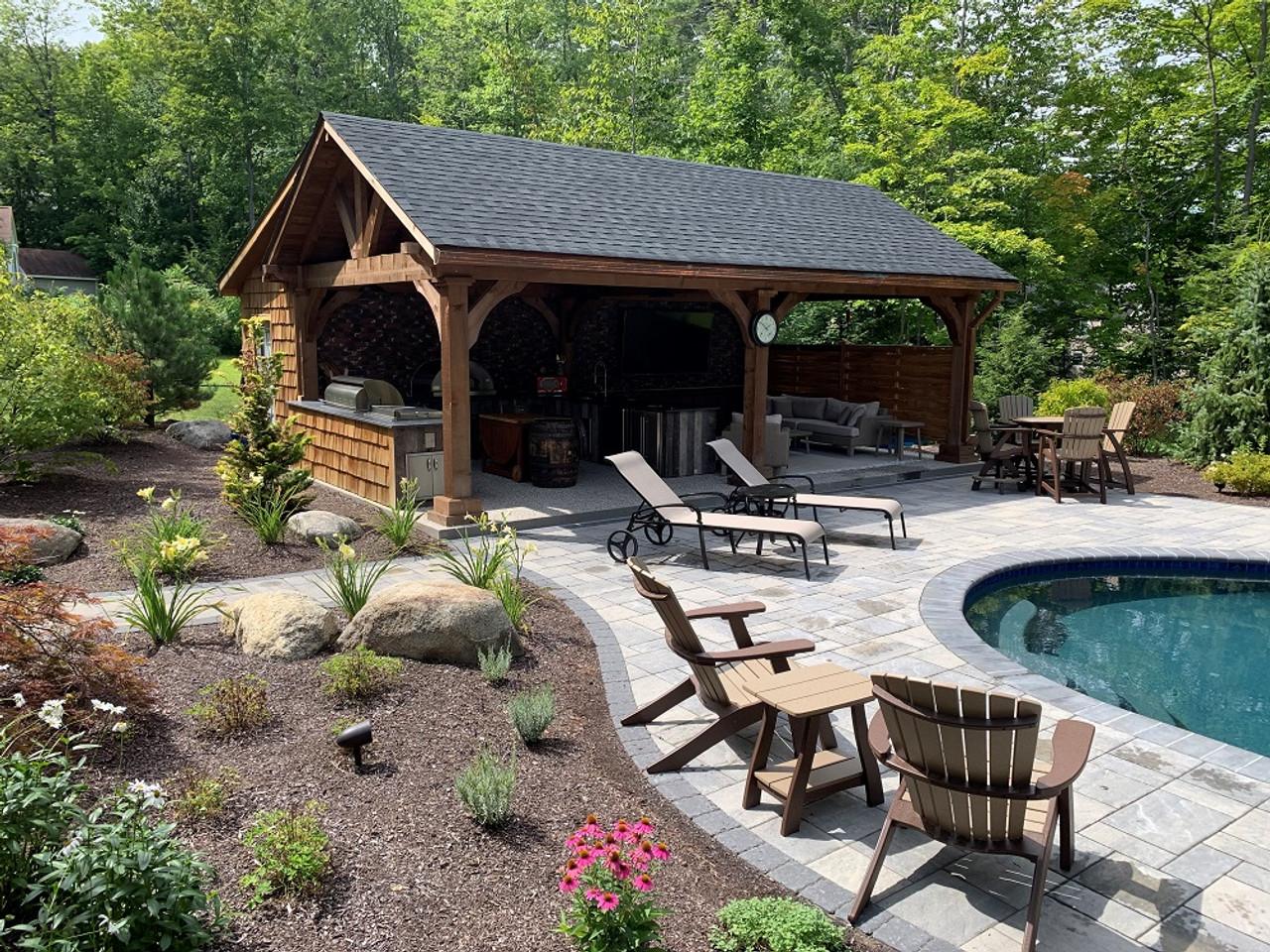 16x28 Grand Cedar Pavilion Kit with Mahogany Stain, Gliford, NH