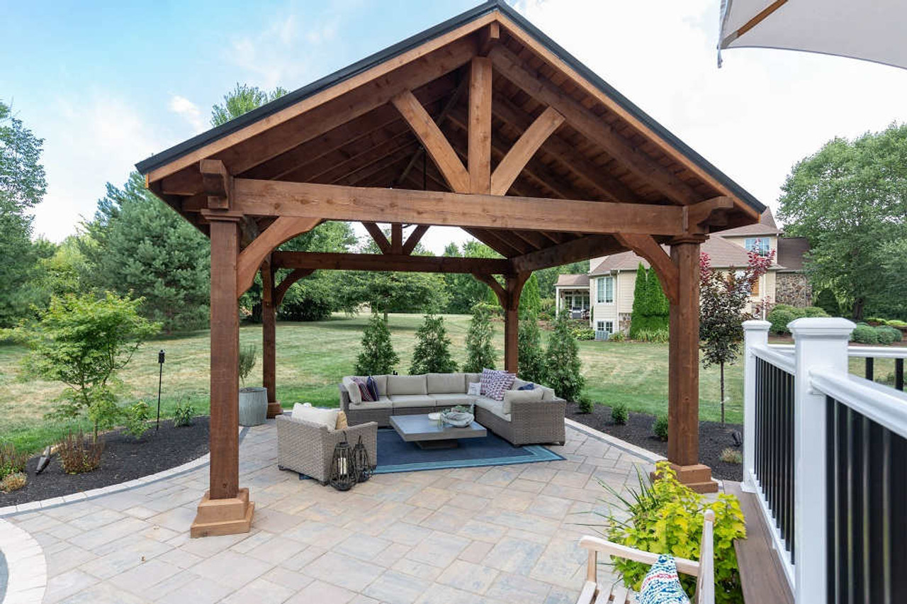 16x16 Grand Cedar Pavilion Kit, Outdoor seating area, Richfield, OH