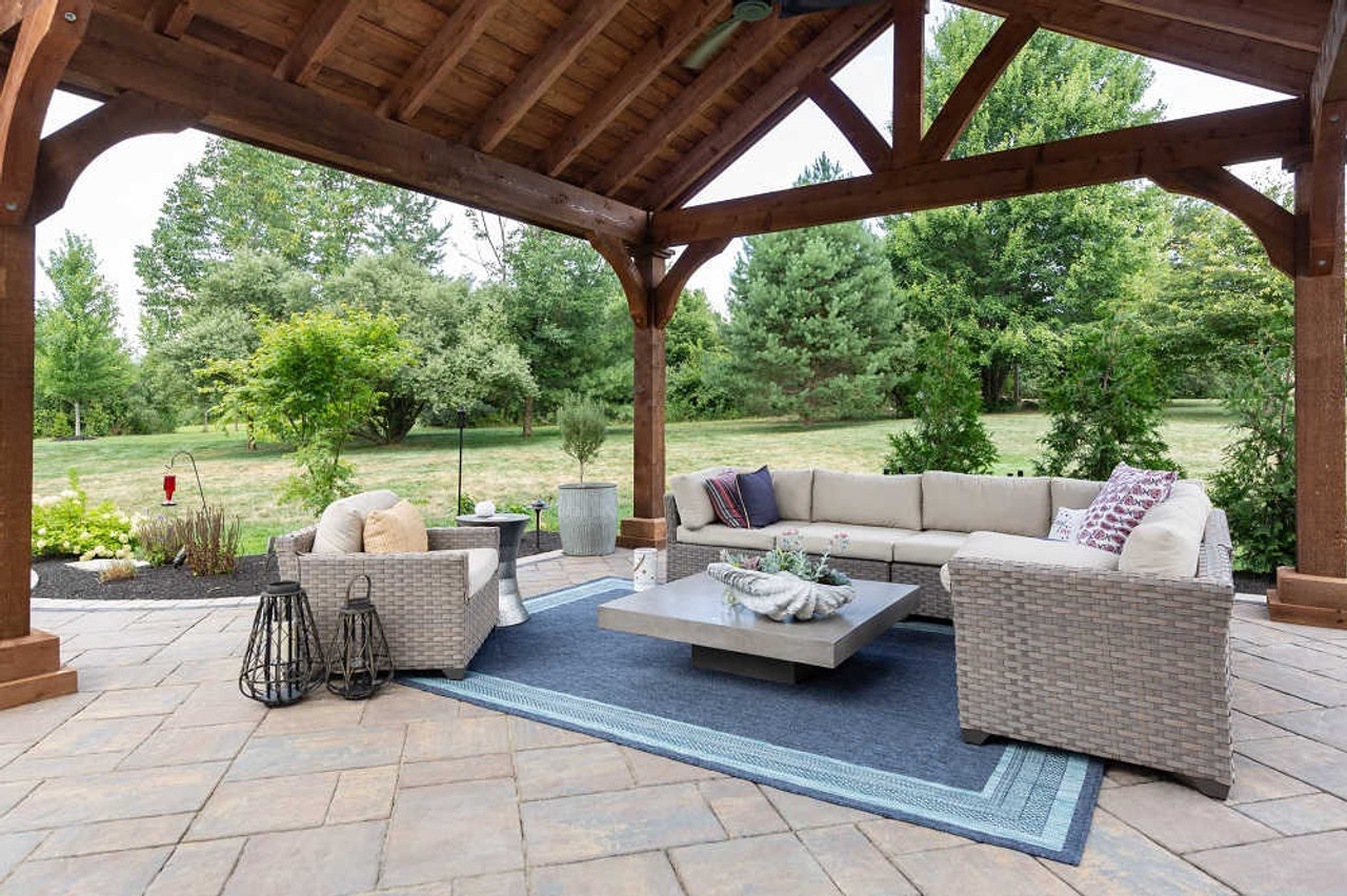 16x16 Grand Cedar Pavilion Kit with sectional & outdoor rug, Richfield, OH
