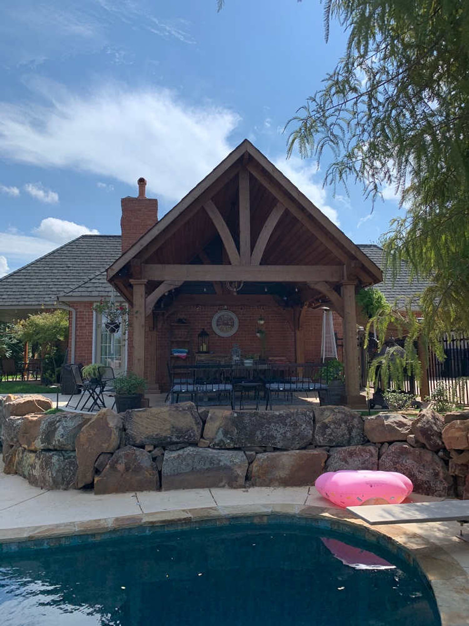 14x14 Grand Cedar Pavlion Kit Poolside, Oklahoma City, Oklahoma