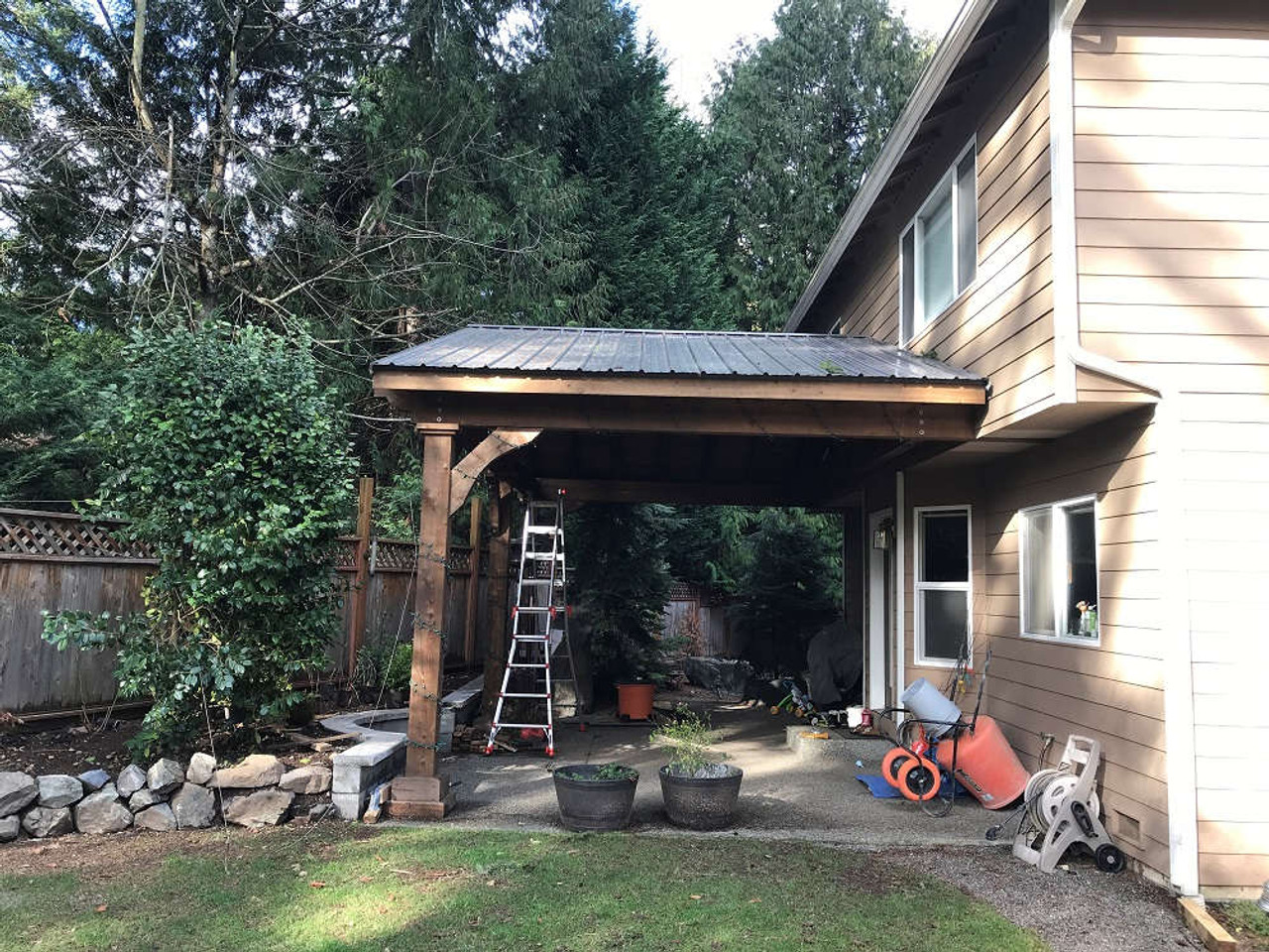 15x26 roof span Grand Cedar Pavilion Kit Wall-Mounted, Bothell, WA