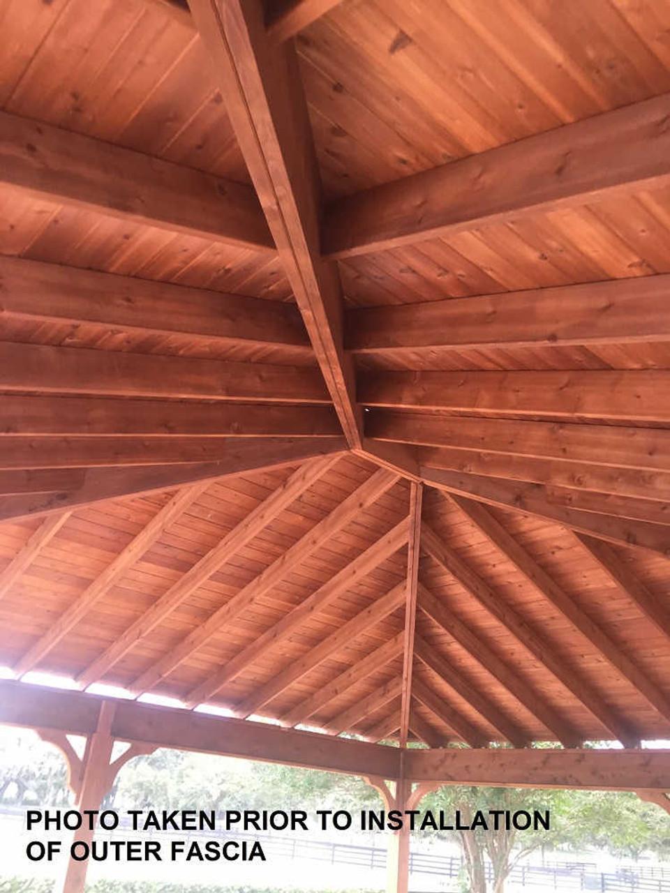 24x26 Red Cedar Trad'l Roof Pavilion Kit Before installation, The Villages, FL