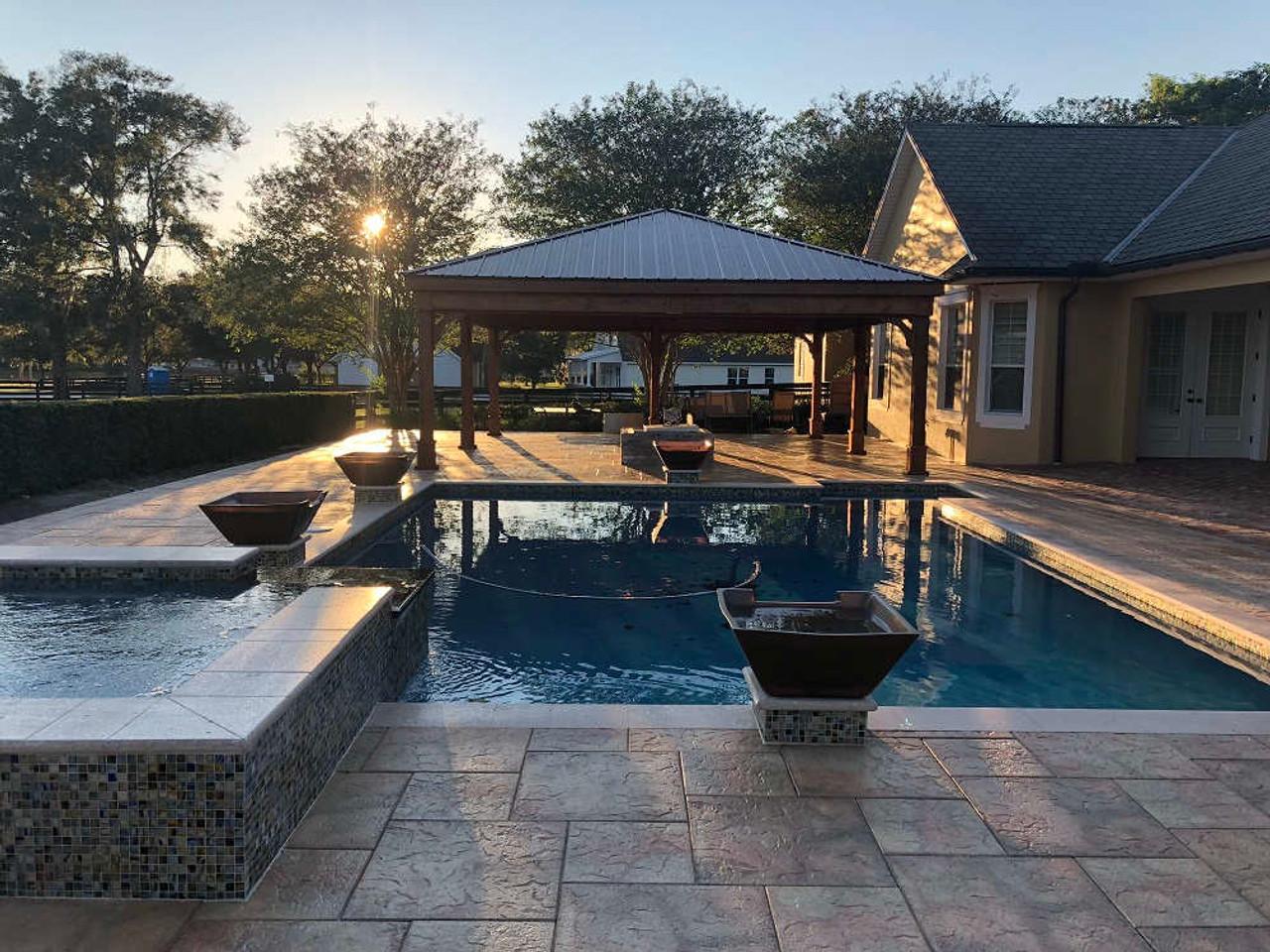 24x26 Red Cedar Trad'l Roof Pavilion Kit for pool area, The Villages, FL