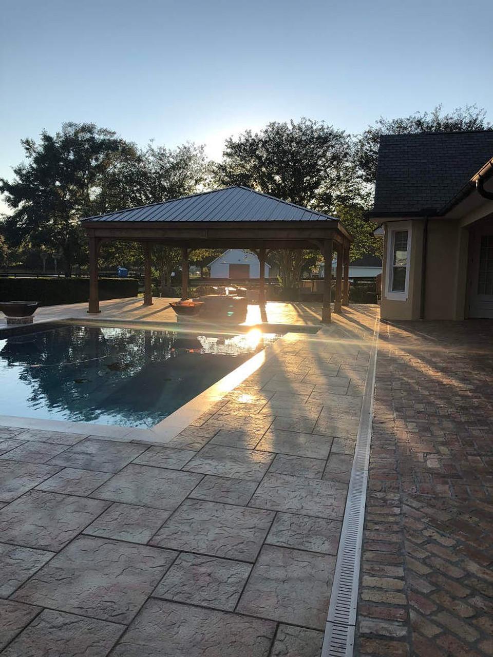 24x26 Red Cedar Trad'l Roof Pavilion Kit sunset, The Villages, FL