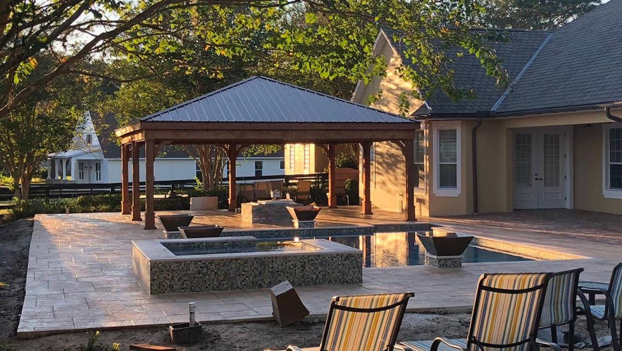 24x26 Red Cedar Trad'l Roof Pavilion Kit, The Villages, FL