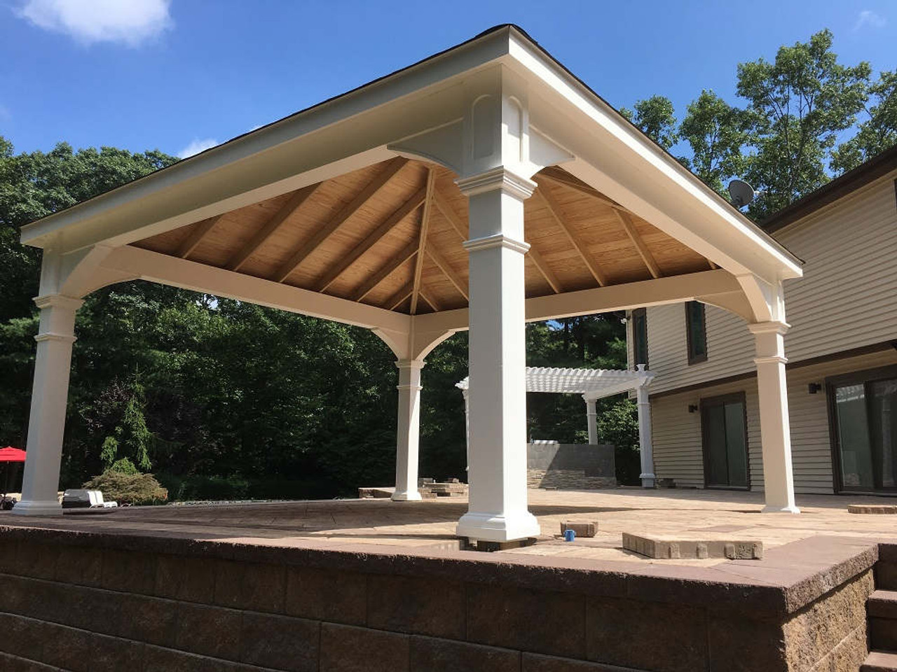 16x16 Pressure Treated Pavilion Kit with pavers elevated patio, Woodbury, NY