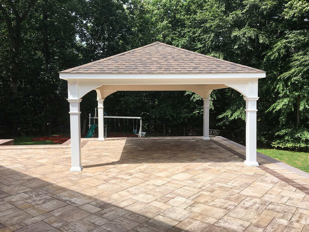 16x16 Vinyl hip roof pavilion on elevated back patio, Woodbury NY