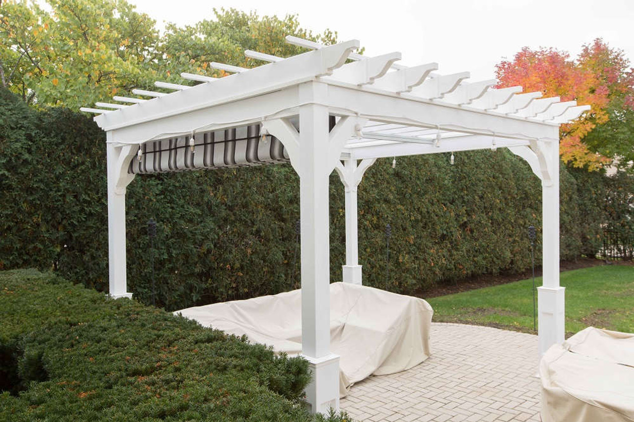 10x12 Serenity Vinyl Pergola with retractable fabric canopy, Glenview, Illinois