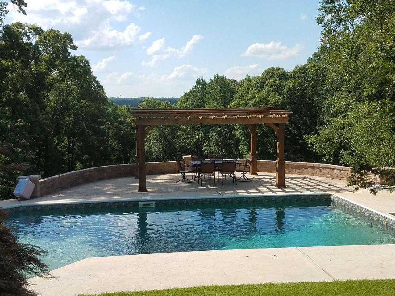 12x16 Arched Cedar Pergola Kit, Poolside, Whitesburg, Georgia