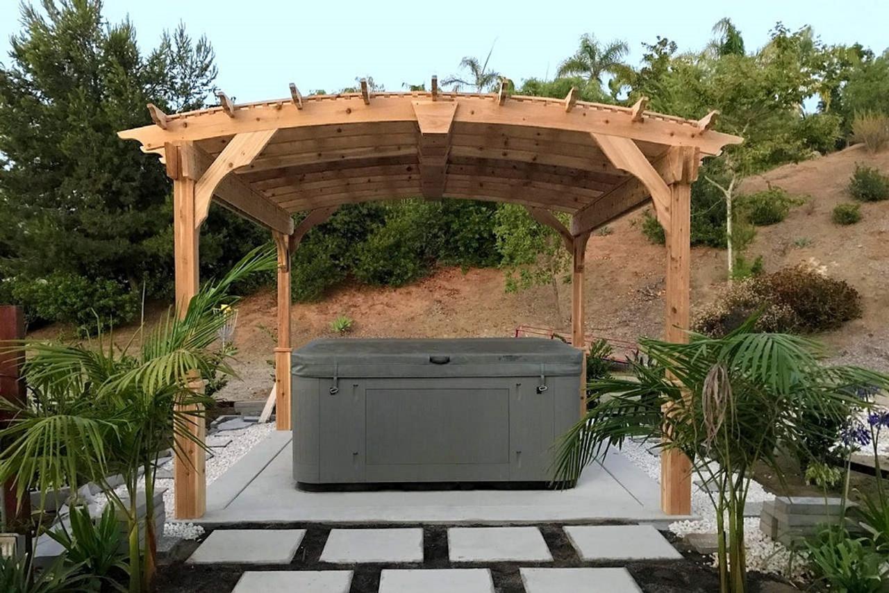 11x11 Arched Cedar Pergola Kit for hot tub, Vista, California