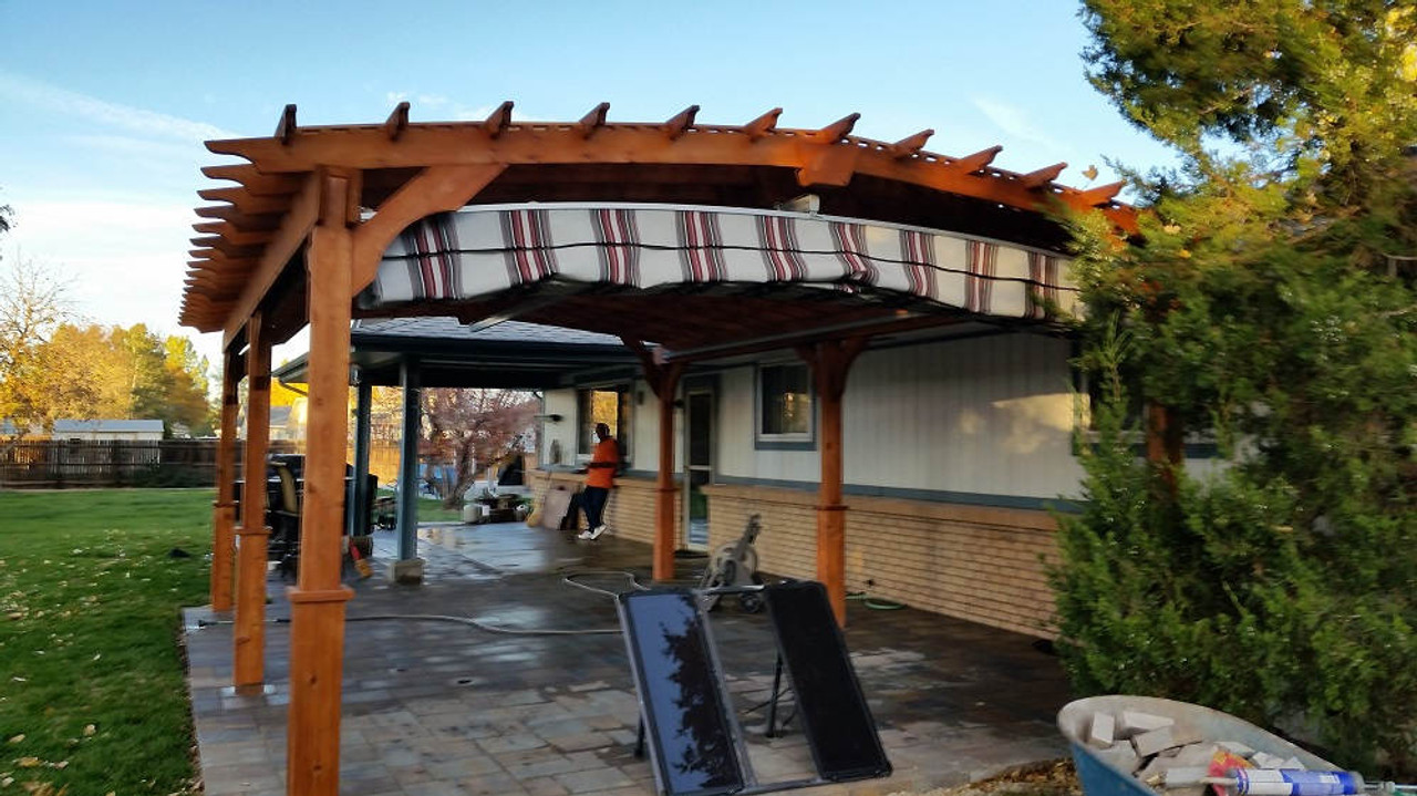 14x22 Arched Cedar Pergola Kit with unique pattern canopy, Brighton, CO