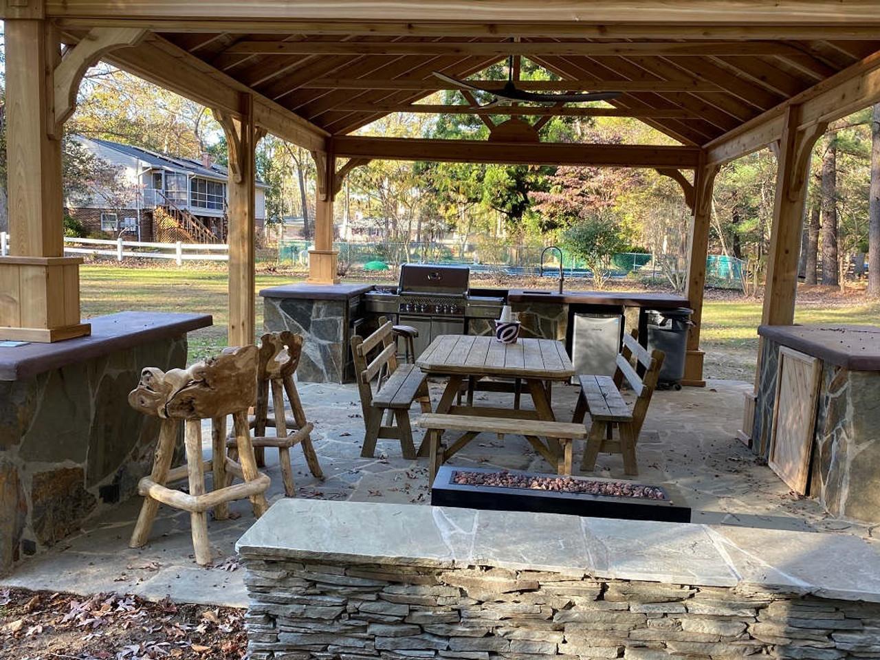 16x20 Red Cedar Gable Roof Pavilion Kit with beautiful teak stools, White Plains, MD
