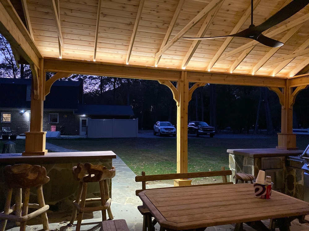 16x20 Red Cedar Gable Roof Pavilion Kit with cool LED tape light, White Plains, MD