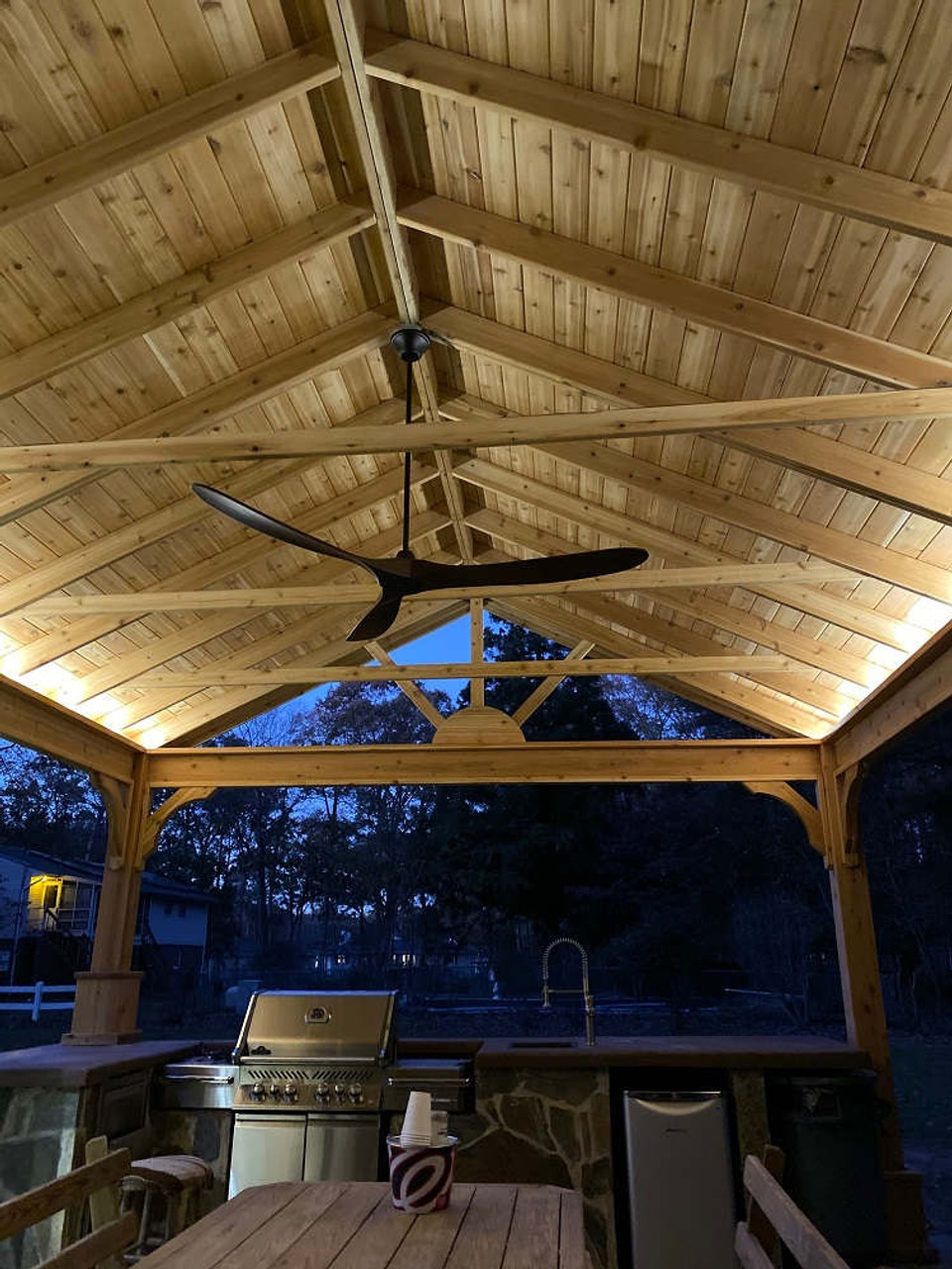 16x20 Red Cedar Gable Roof Pavilion Kit with High ceiling for BBQ, White Plains, MD