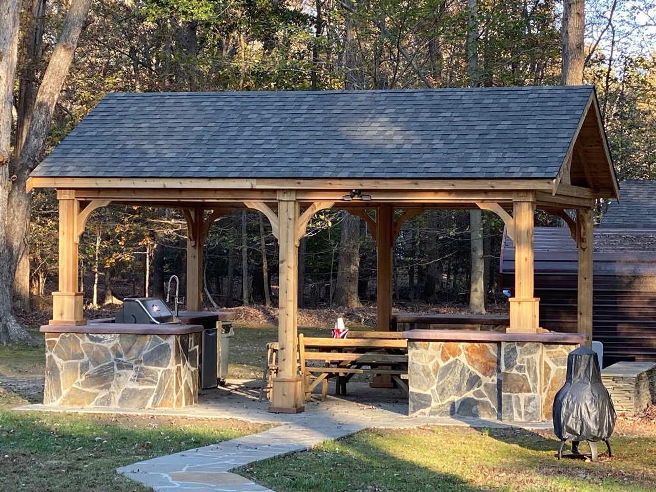 16x20 Red Cedar Gable Roof Pavilion Kit, White Plains, Maryland