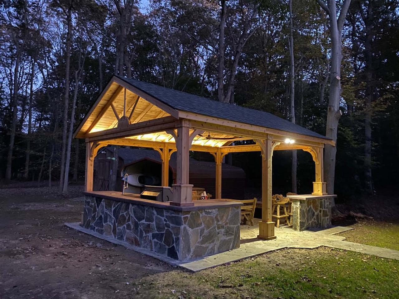 16x20 Red Cedar Gable Roof Pavilion Kit, White Plains, MD