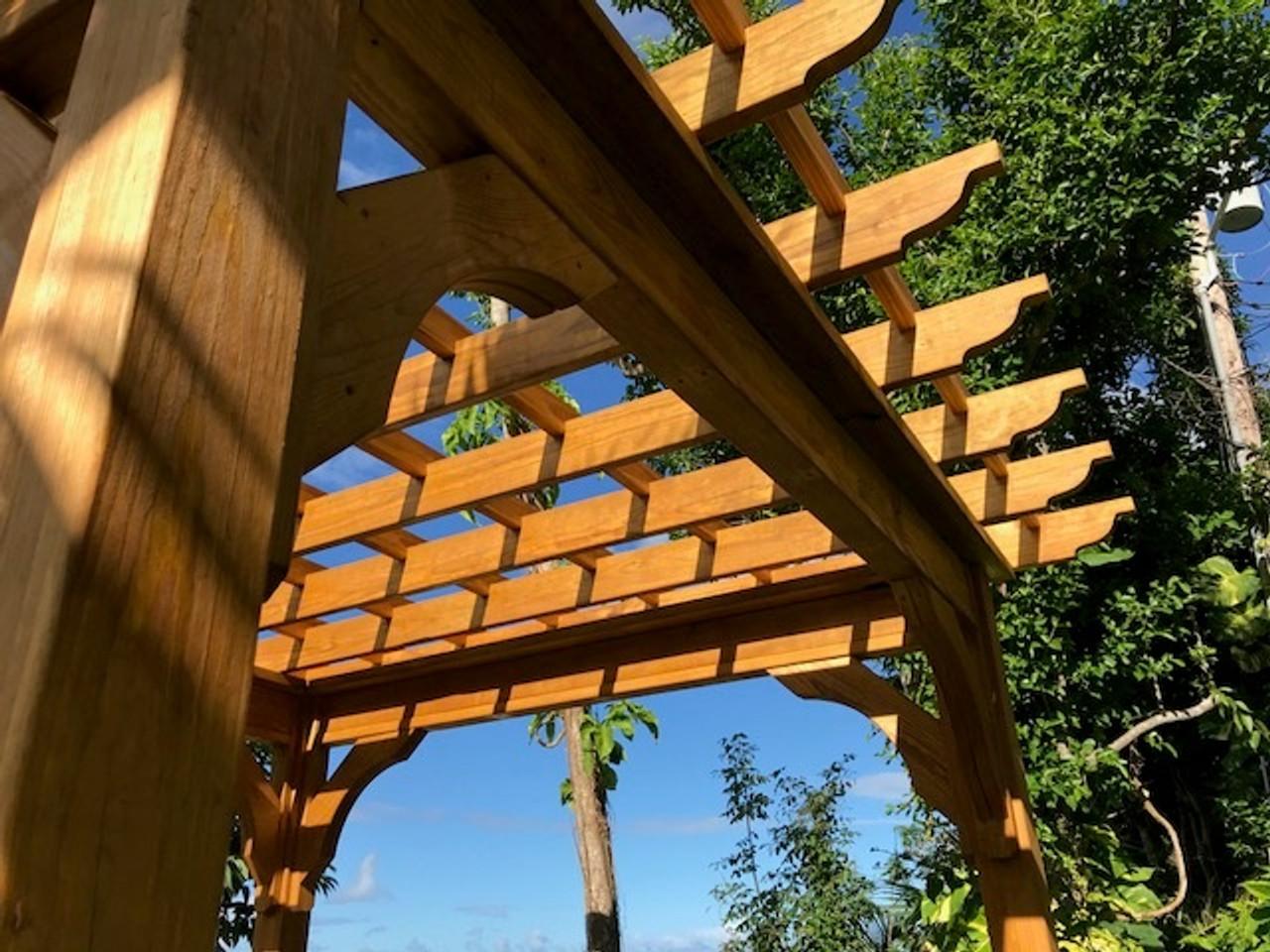 10x10 Pressure Treated Pine Serenity Pergola Kit Corner Braces, U.S. Virgin Islands