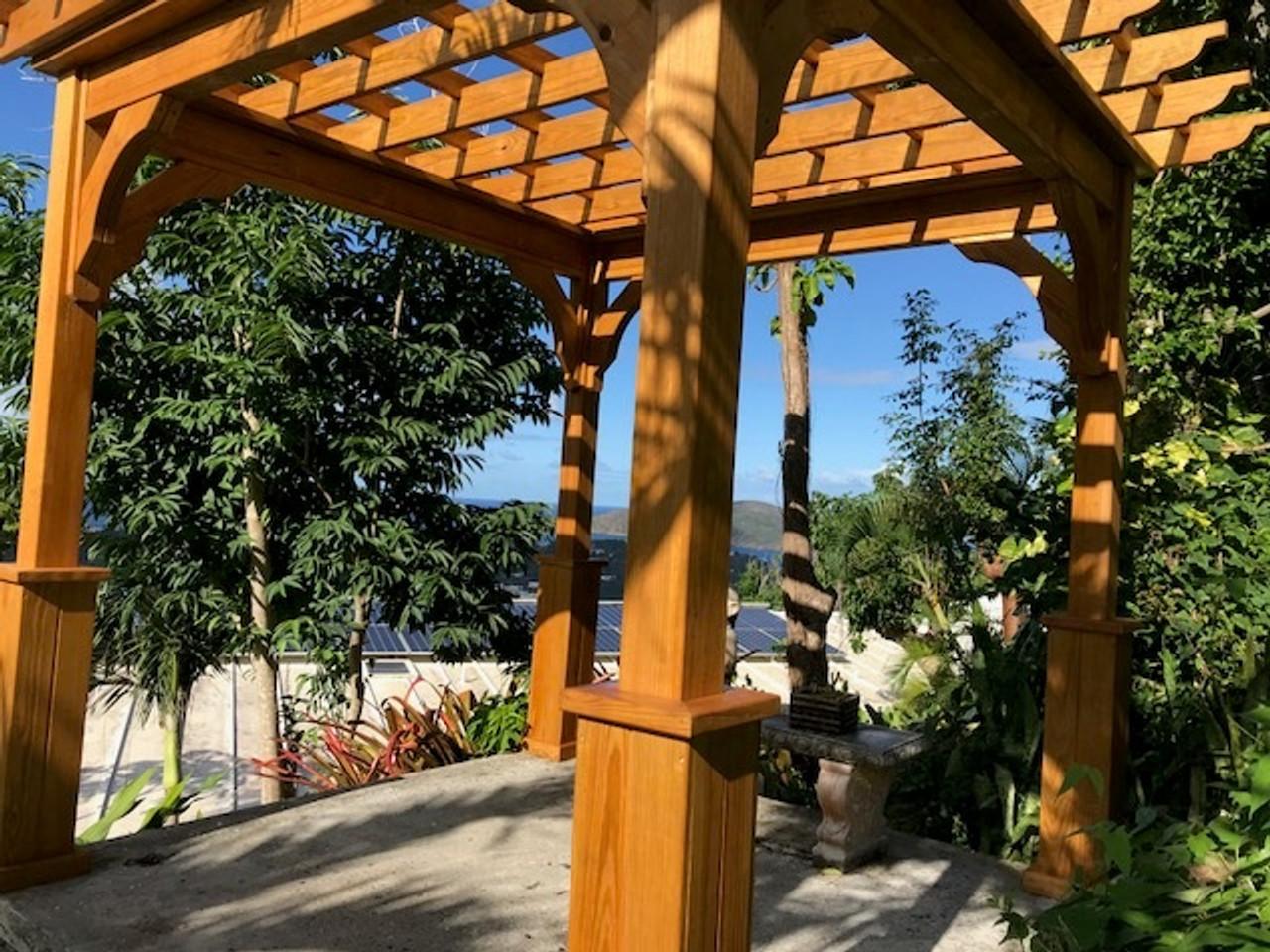 10x10 Pressure Treated Pine Serenity Pergola Kit, Gorgeous Setting in the U.S. Virgin Islands