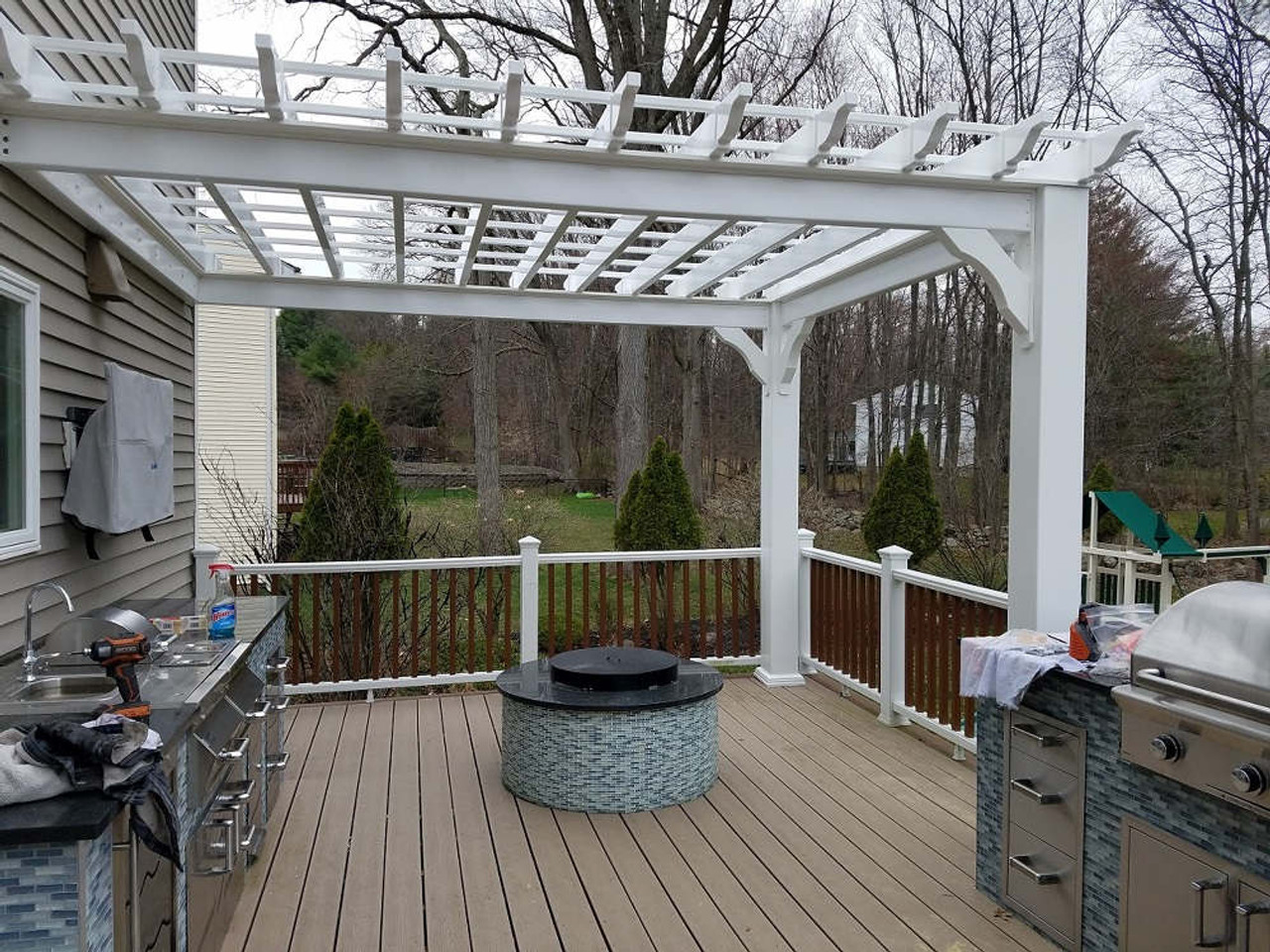 10x13 Vinyl Serenity Pergola Kit, New City, New York
