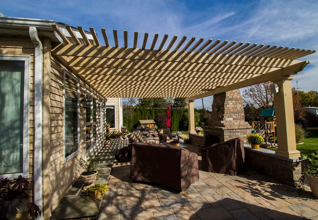 17x22 Structural Fiberglass Pergola Kit Wall-Mounted Outdoor seating, Allentown, PA