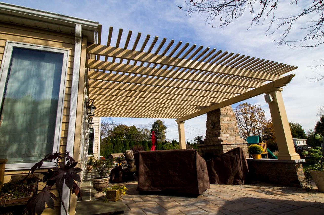 17x22 Structural Fiberglass Pergola Kit Wall-Mounted, Allentown with custom color, PA
