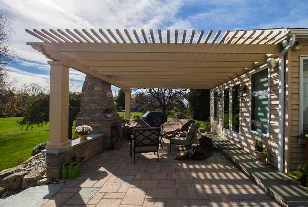 17x22 Structural Fiberglass Pergola Kit Wall-Mounted, Allentown, PA