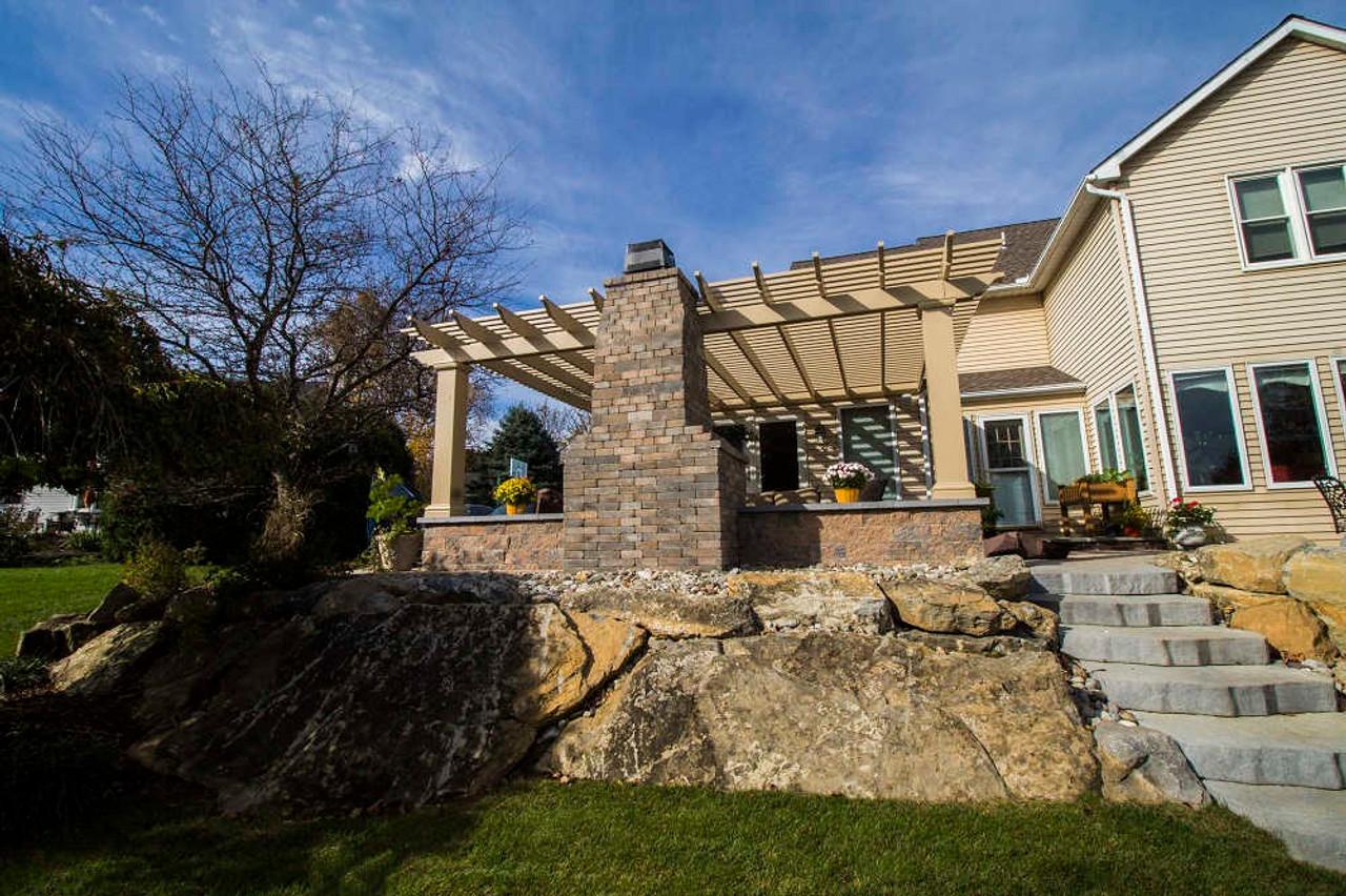 17x22 Structural Fiberglass Pergola Kit Wall-Mounted with Stone decoration, Allentown, Pennsylvania