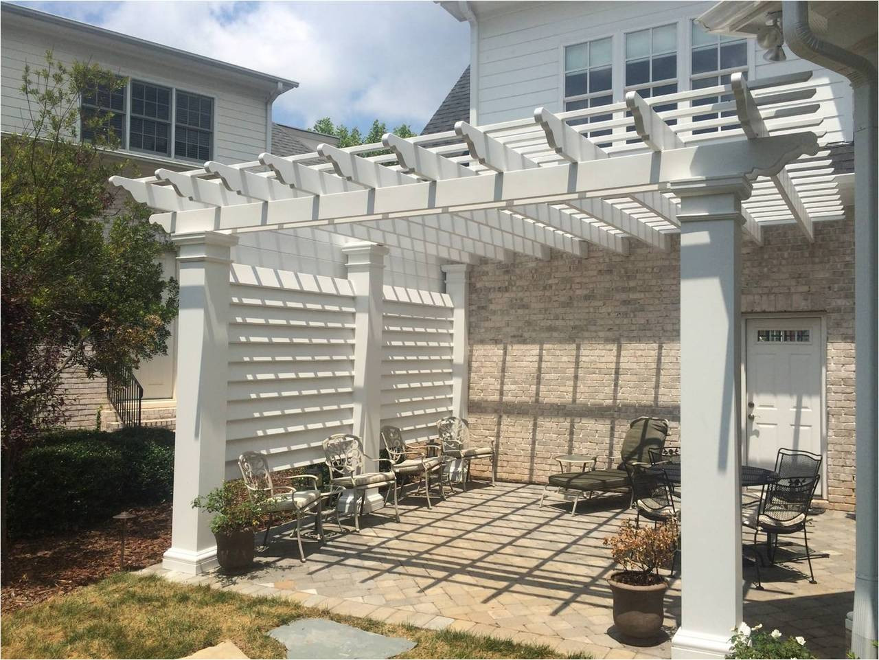 St. Lucia fiberglass pergola kit w/ custom wall panels