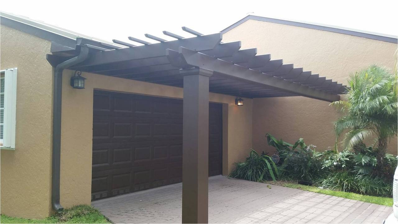 St. Lucia fiberglass pergola kit - brown