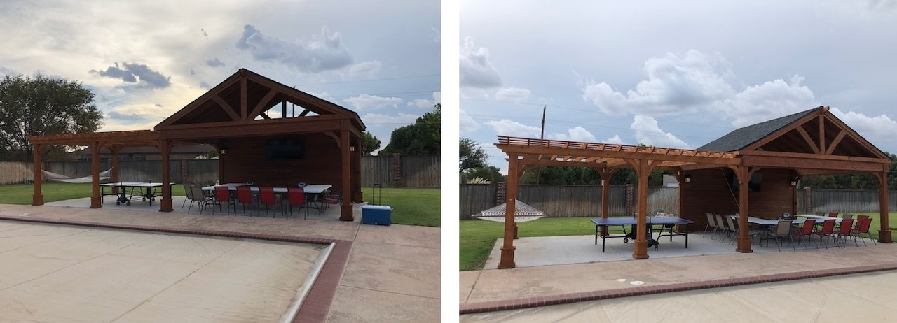 20x16 Western Red Cedar Pavilion Kit with attached 20x16 Classic Cedar Pergola Kit, Lubbock, TX   (PLEASE CALL FOR PRICE QUOTE)