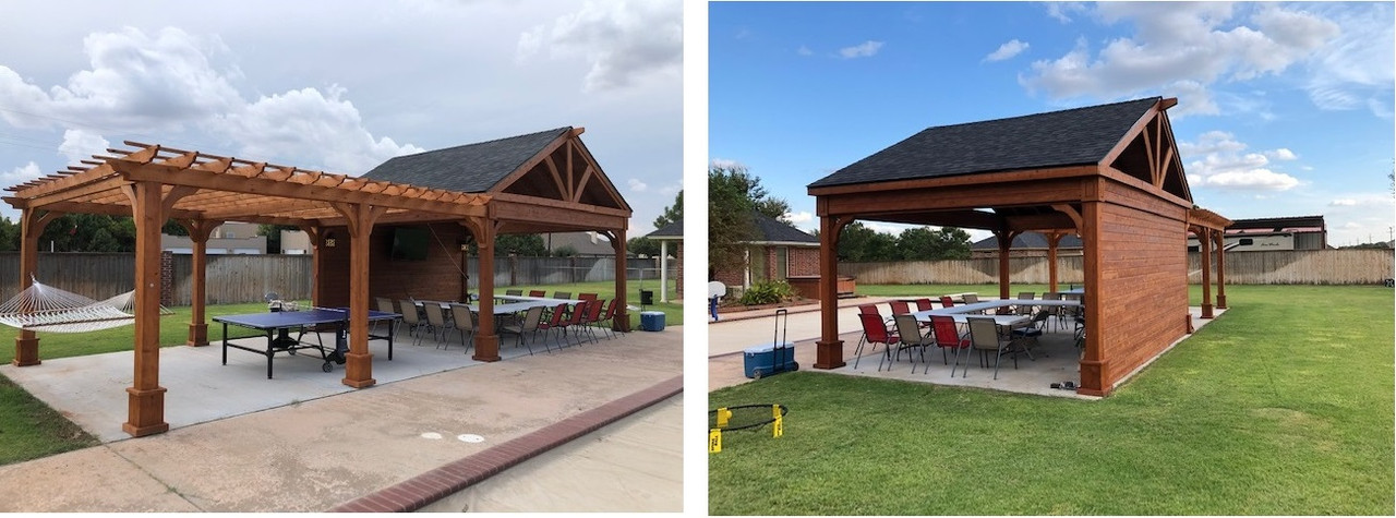 20x16 Red Cedar Gabled Roof Pavilion with Privacy Wall and attached 20x16 Classic Cedar Pergola, Lubbock, Texas    (PLEASE CALL FOR PRICE QUOTE)