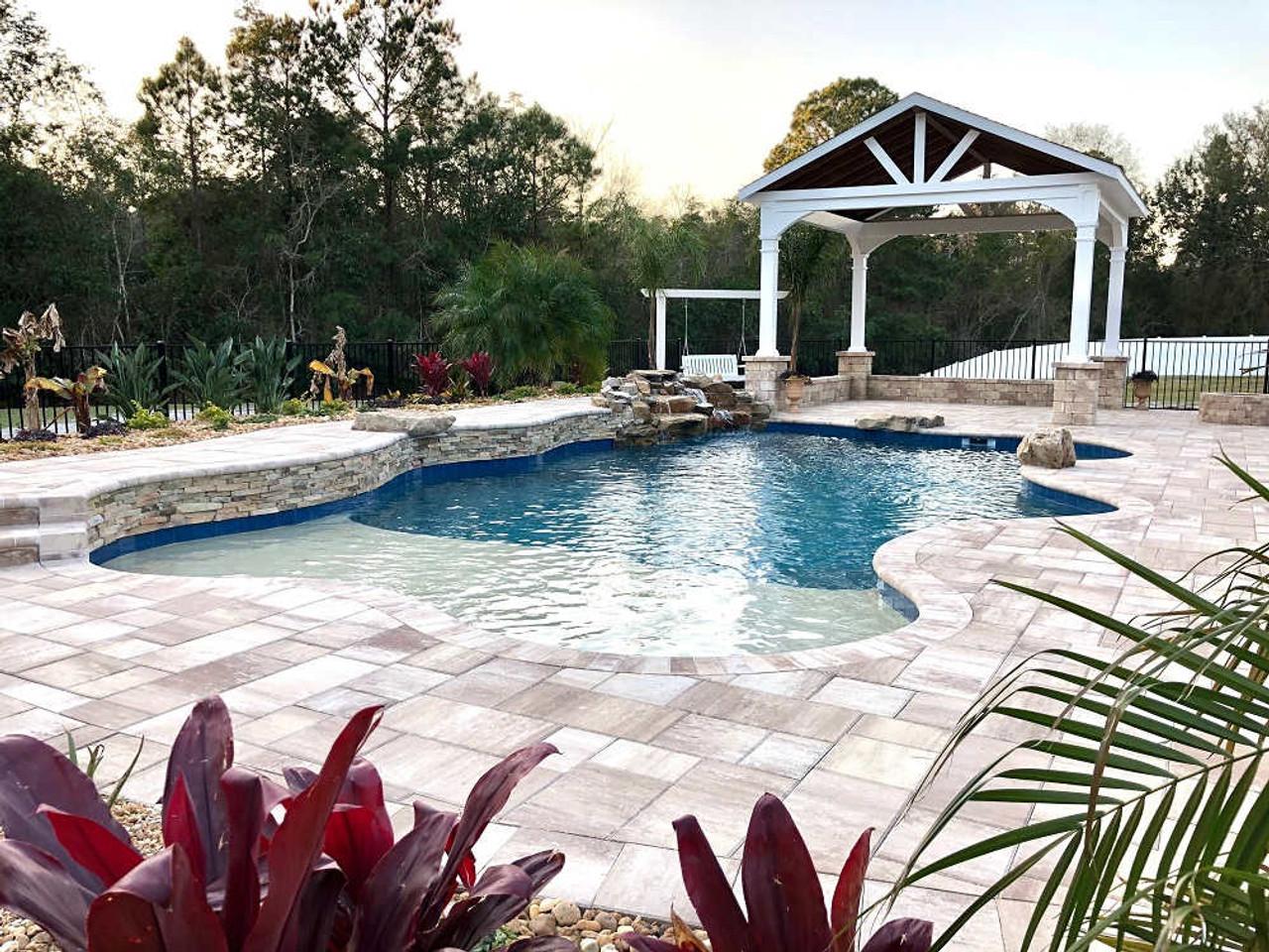 16x16 Vinyl Open Gabled Roof Pavilion  - Poolside in Jacksonville, FL