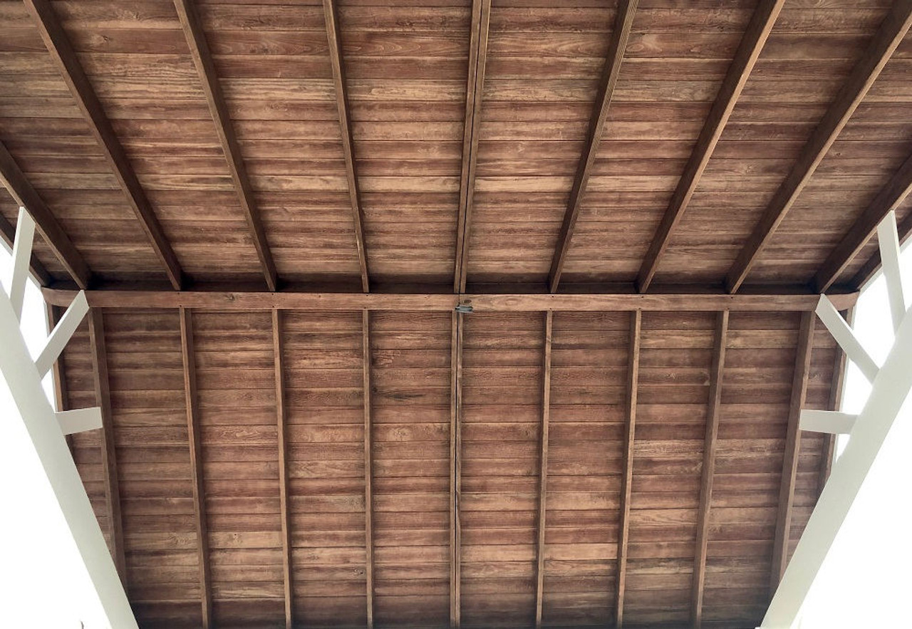Open Gabled Roof with Mahogany Stain