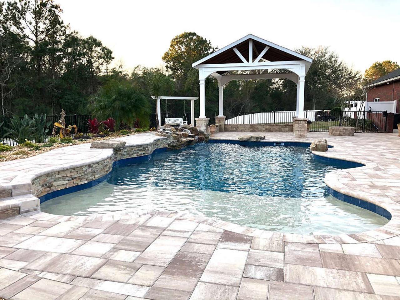 16x16 Vinyl Open Gabled Roof Pavilion  - Poolside Paradise in Jacksonville, FL