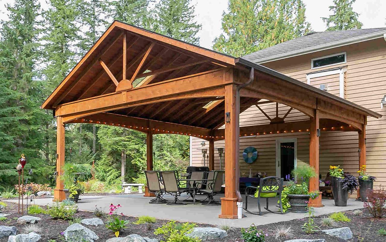 22x28 Open Gable Cedar Pavilion, Duvall, Washington
