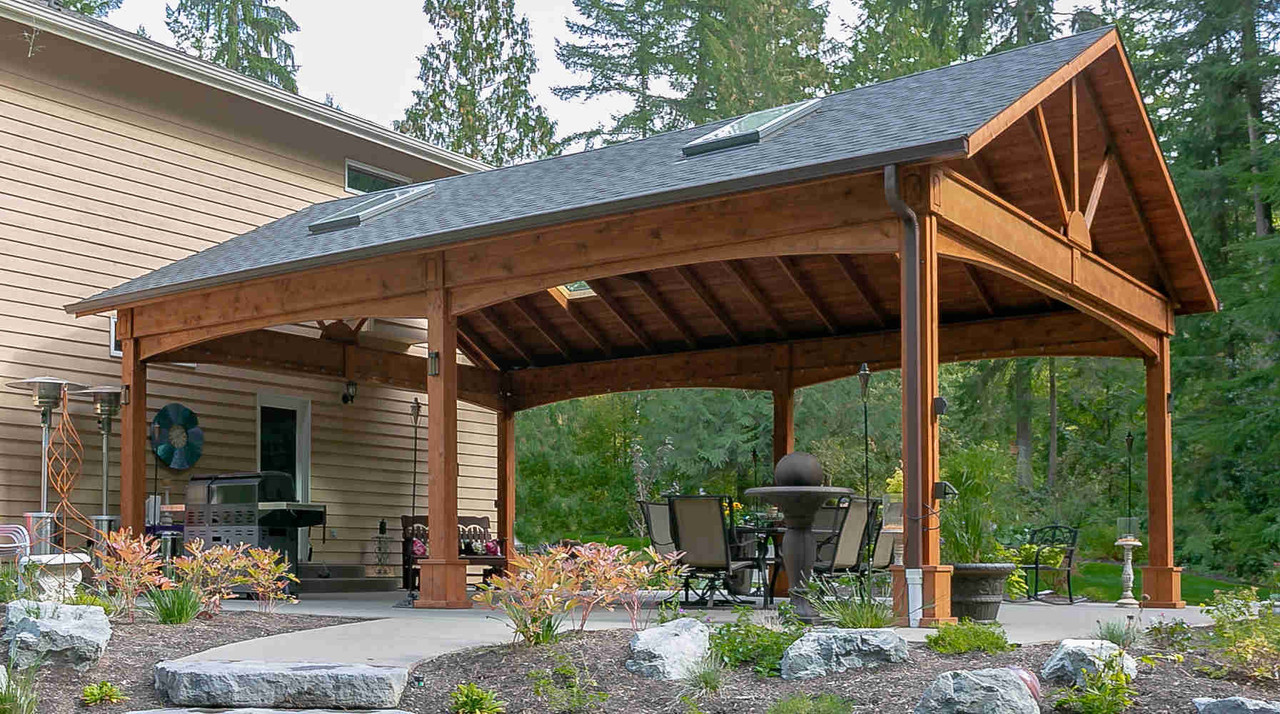 Arched Beams and Rustic Cedar Stain on 22x28 Cedar Pavilion, Duvall, WA