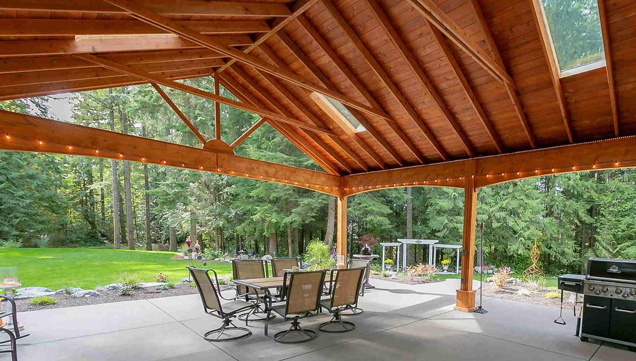 Underside of 22x28 Open Gable Cedar Pavilion, Duvall, WA