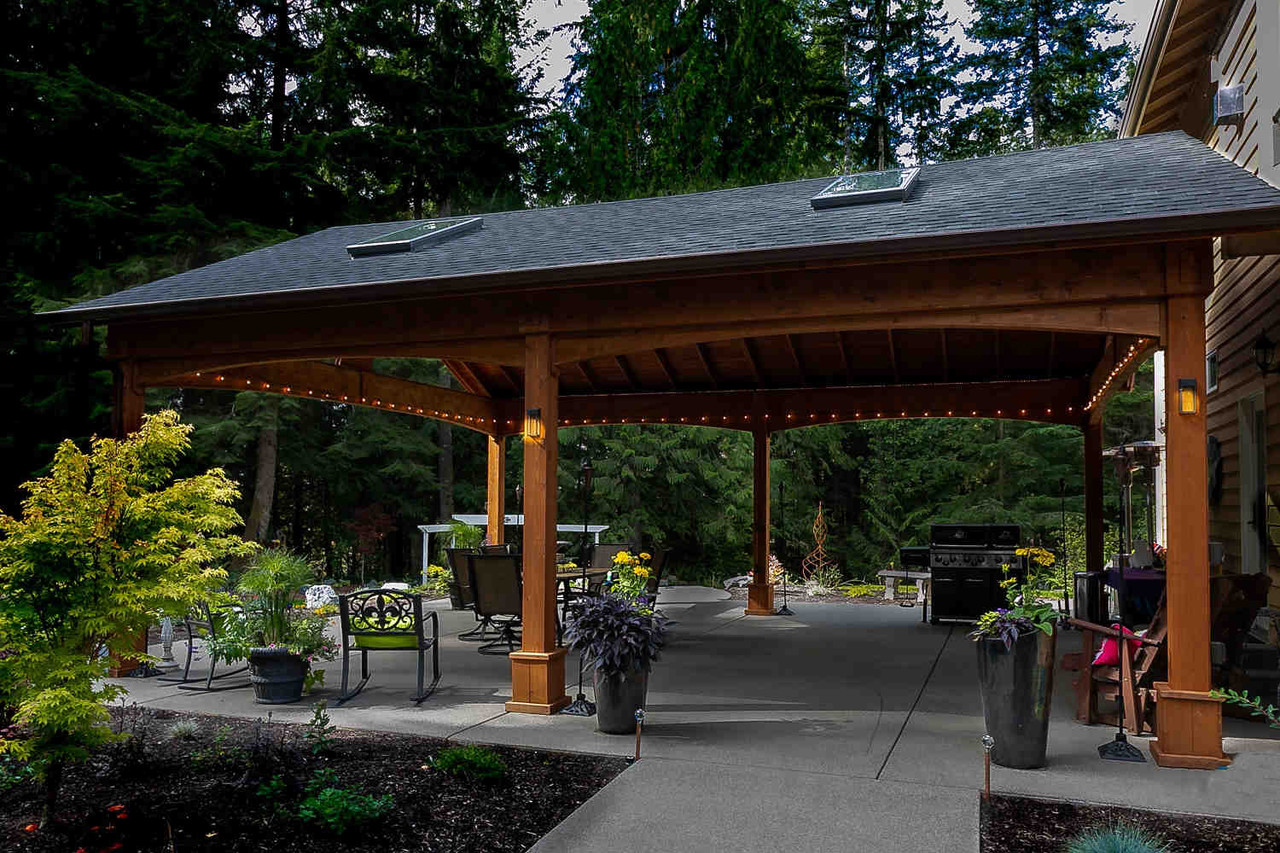 Perfect Day and Night, Open Gable Cedar Pavilion, Duvall, WA