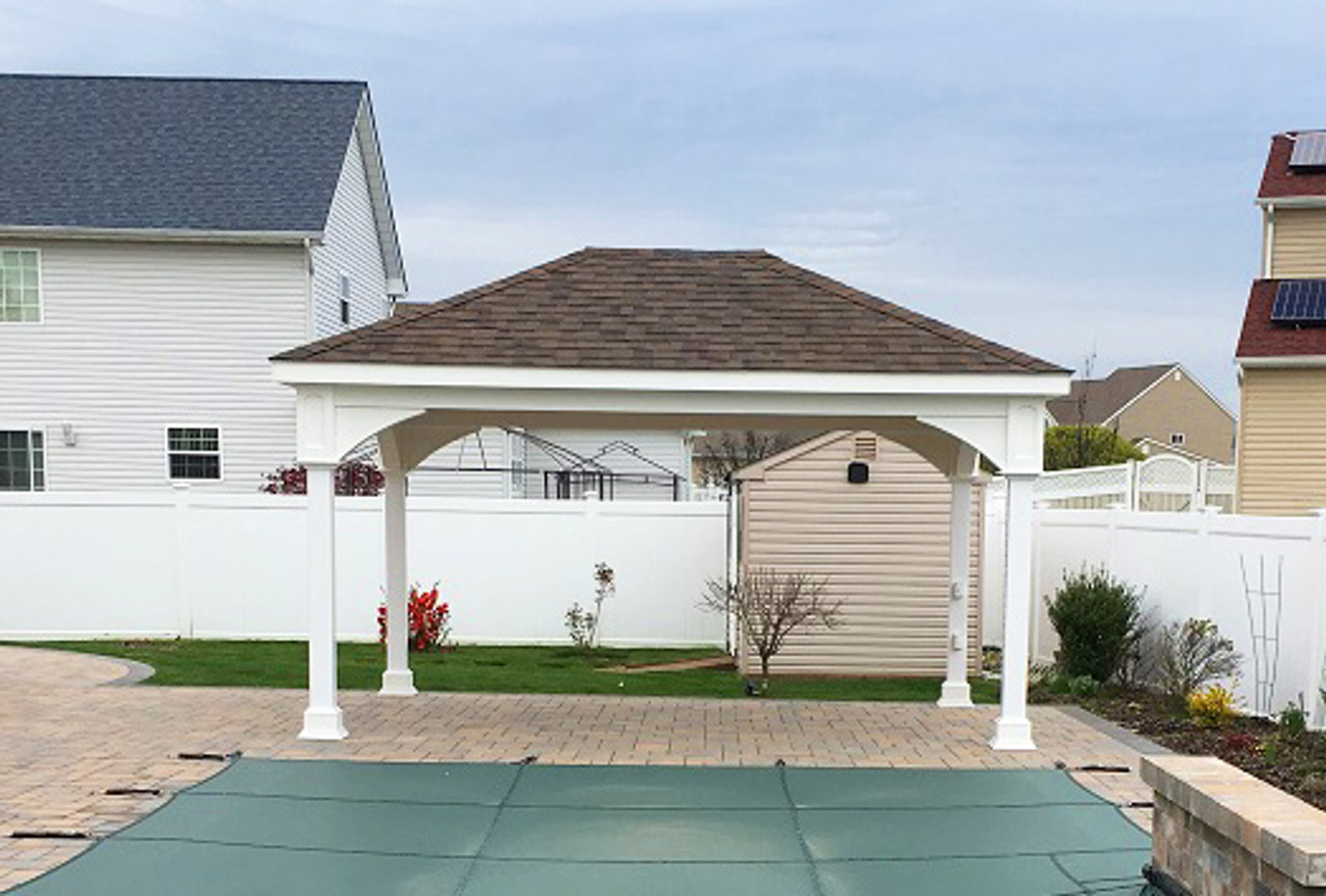 12x16 Vinyl Traditional (Hip) Roof with Dual Brown Asphalt Shingles