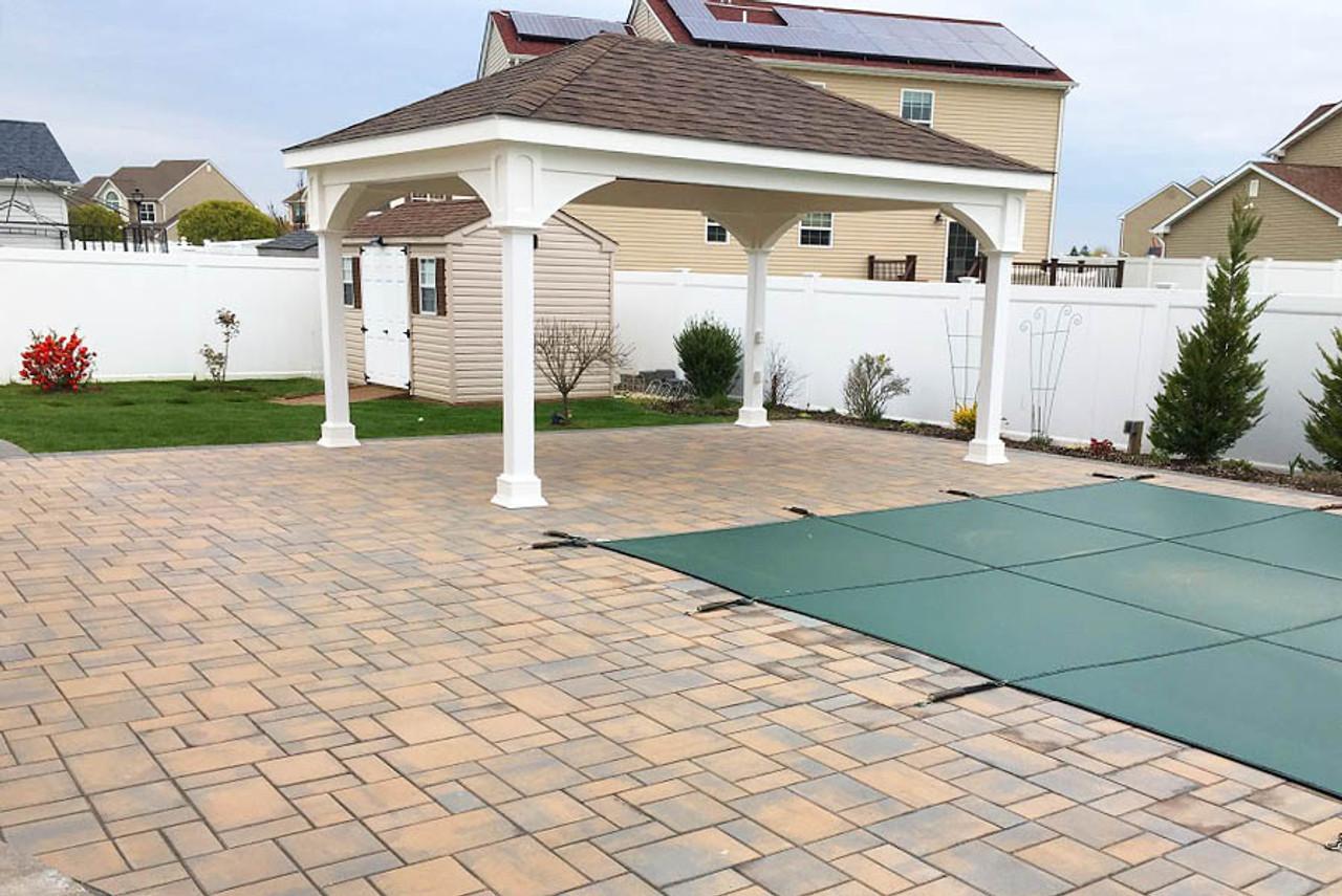 12x16 Vinyl Traditional (Hip) Roof Pavilion Poolside