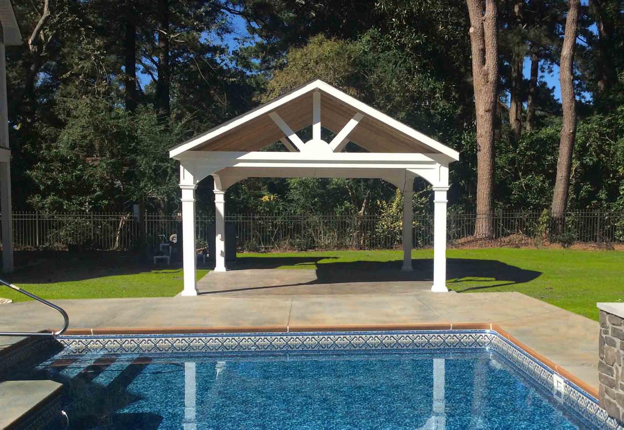 17 x 17 Gabled Roof Poolside Vinyl Pavilion, Virginia Beach, Virginia