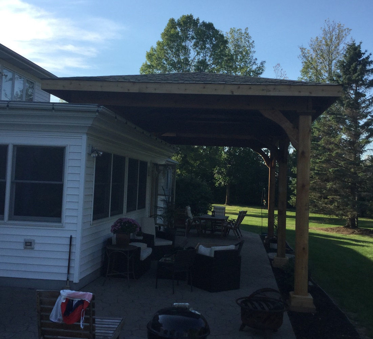 Roof-mounted 14x28 Grand Cedar Patio Cover, Lockport, NY