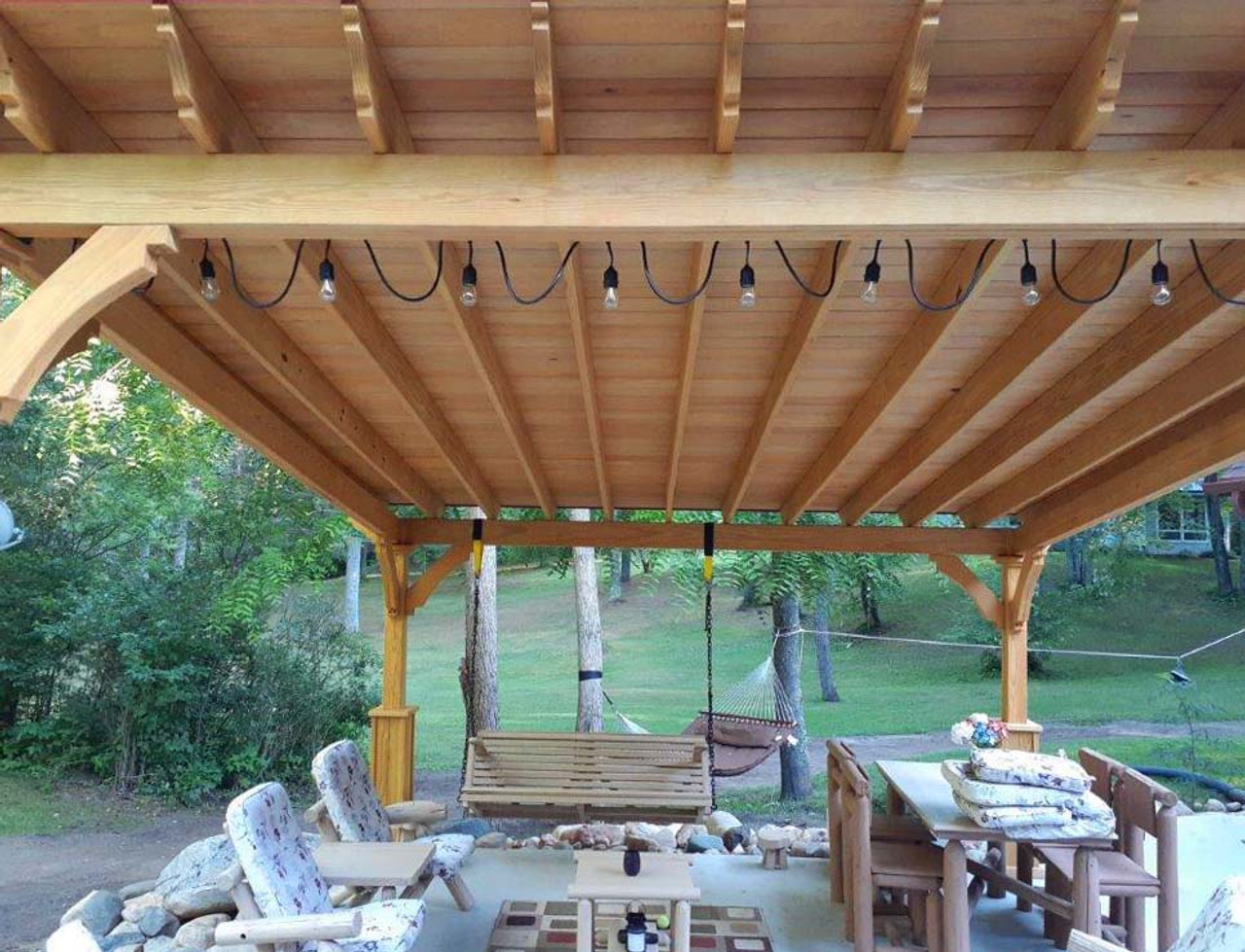 tongue and groove roofing with maple stain